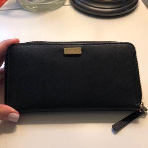 Kate Spade Black zip around wallet